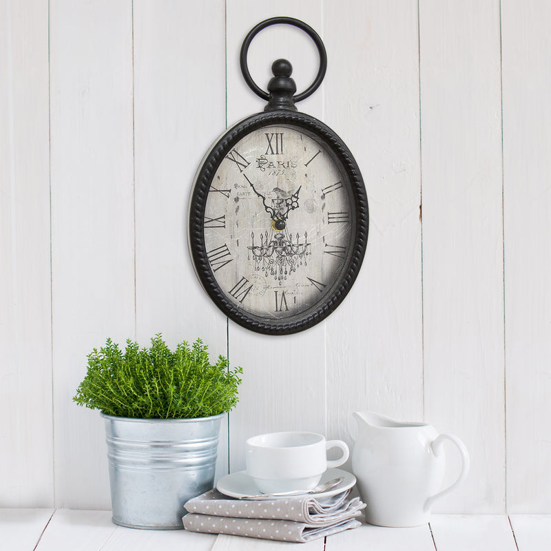 Hatherleigh Antique Black Oval Wall Clock lifestyle