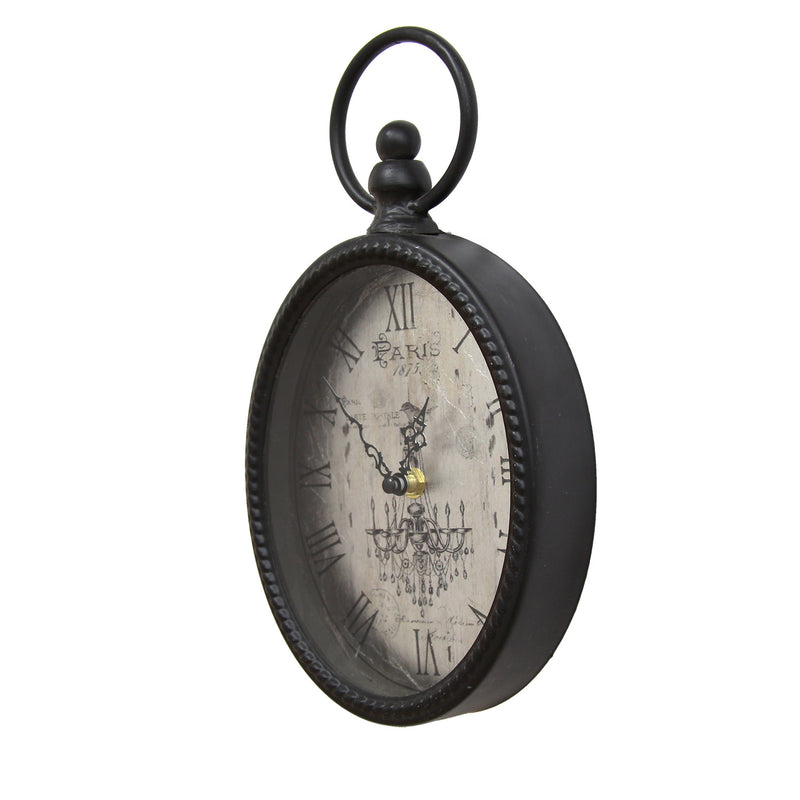 Hatherleigh Antique Black Oval Wall Clock alternate angle