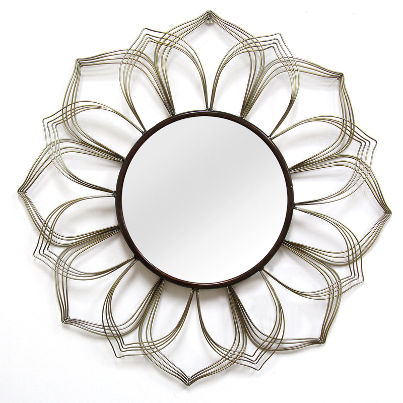 Calzada Contemporary Flower Bronze Metal Wall Mirror