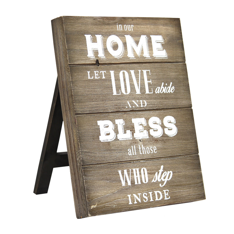 Love and Bless Wooden Plank Table Top Decor