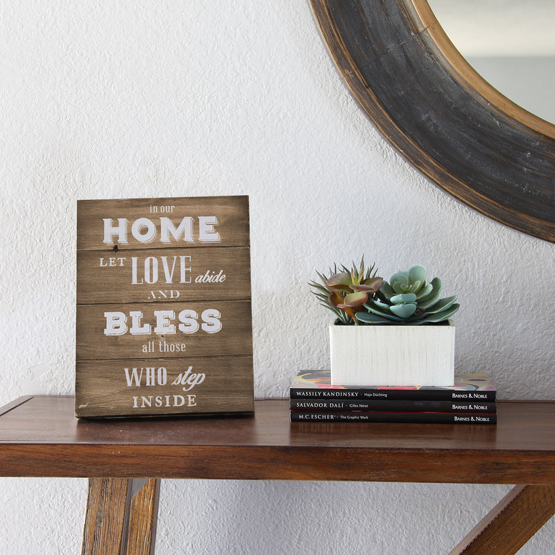 Love and Bless Wooden Plank Table Top Decor lifestyle