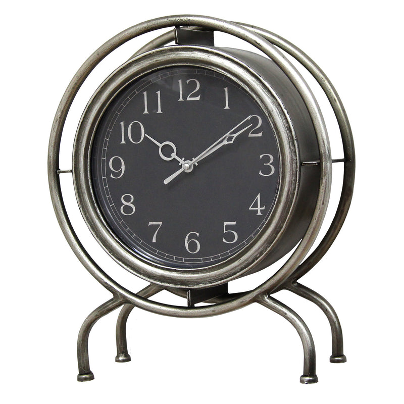 Andover Silver and Black Metal Table Top Clock