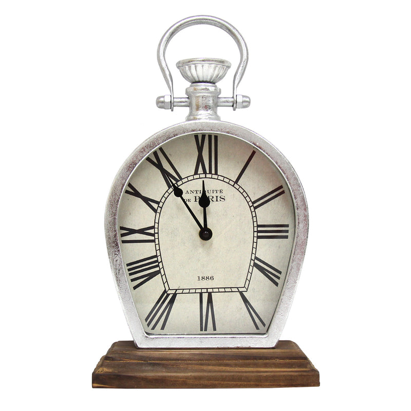 Ashington Brushed Silver and Wood Table Top Clock