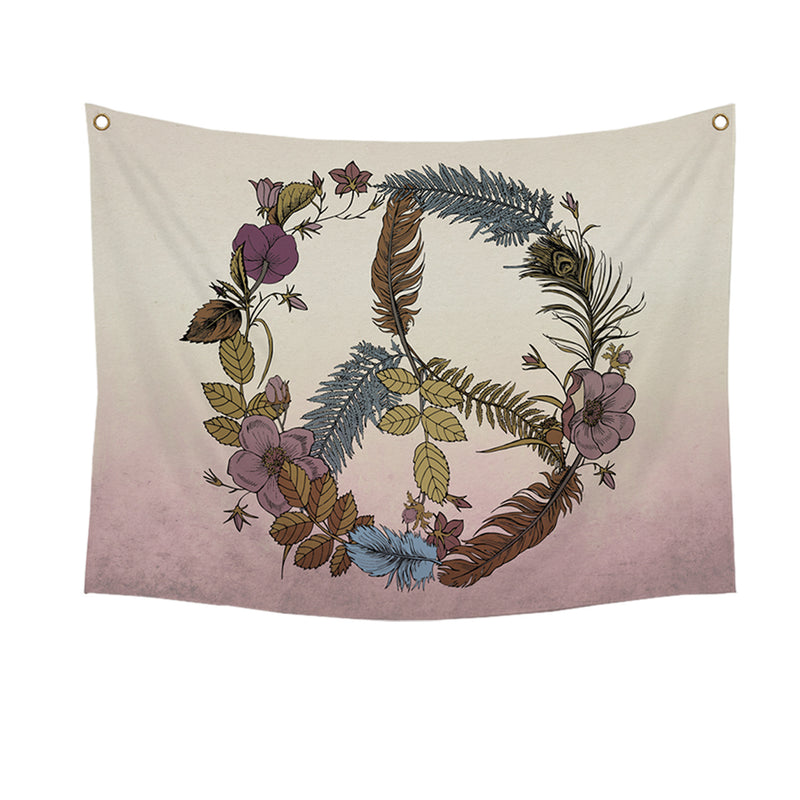 Castelar Botanical Peace Sign 40-Inch Wall Tapestry