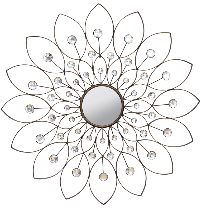 Carilo Bronze Rhinestone Flower Decorative Wall Mirror