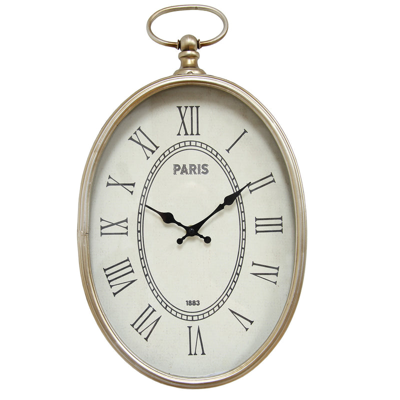 Kempston Champagne Roman Numeral Oval Wall Clock
