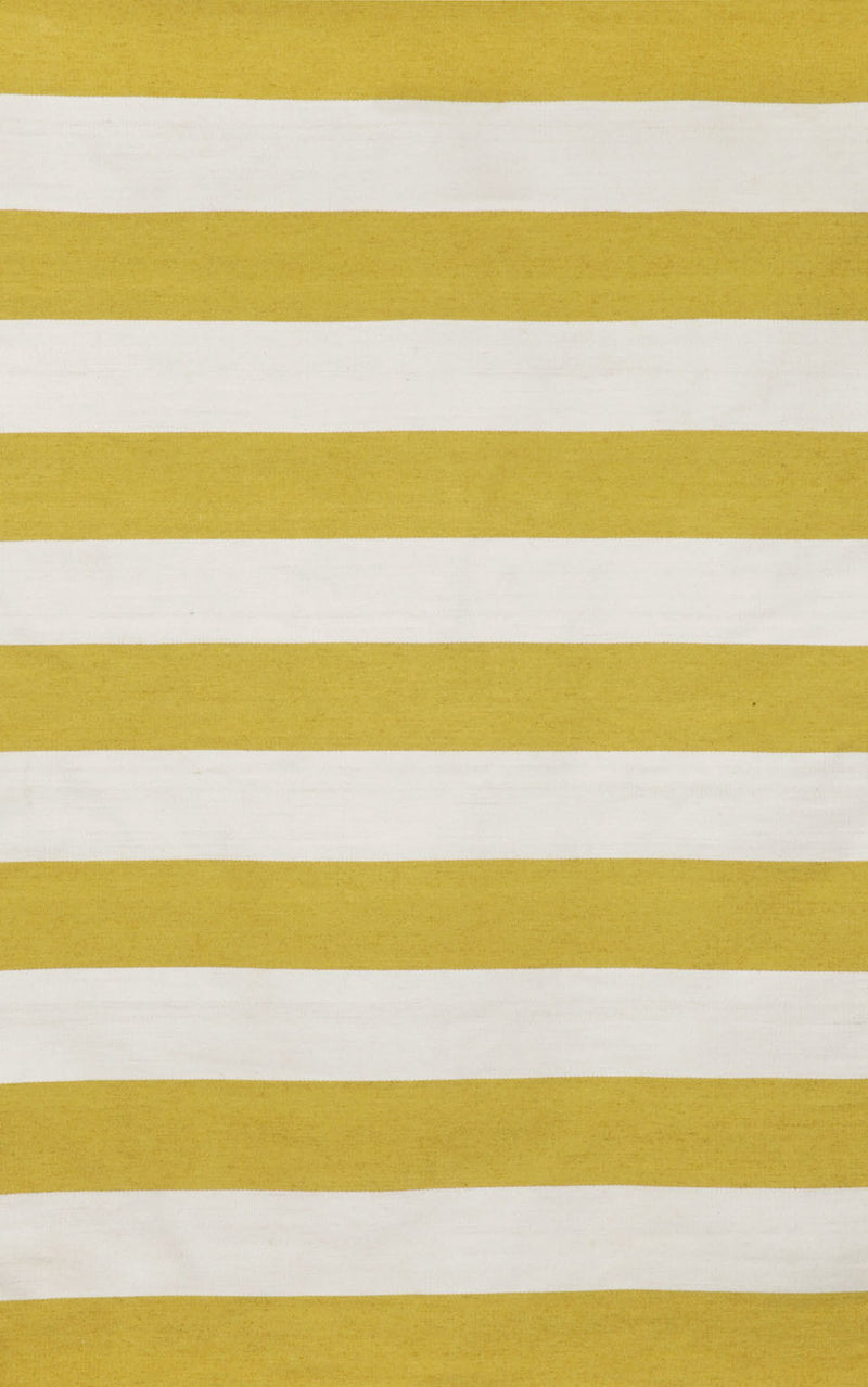 "Rugby Stripe Yellow 5' x 7'6"" Indoor/Outdoor Flatweave Rug"