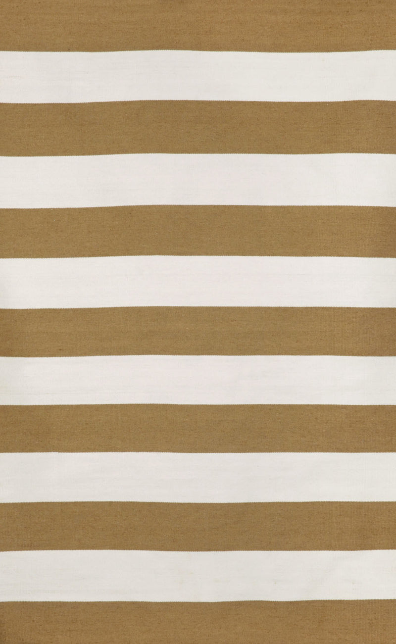 "Rugby Stripe Khaki 24"" x 8' Indoor/Outdoor Flatweave Rug"