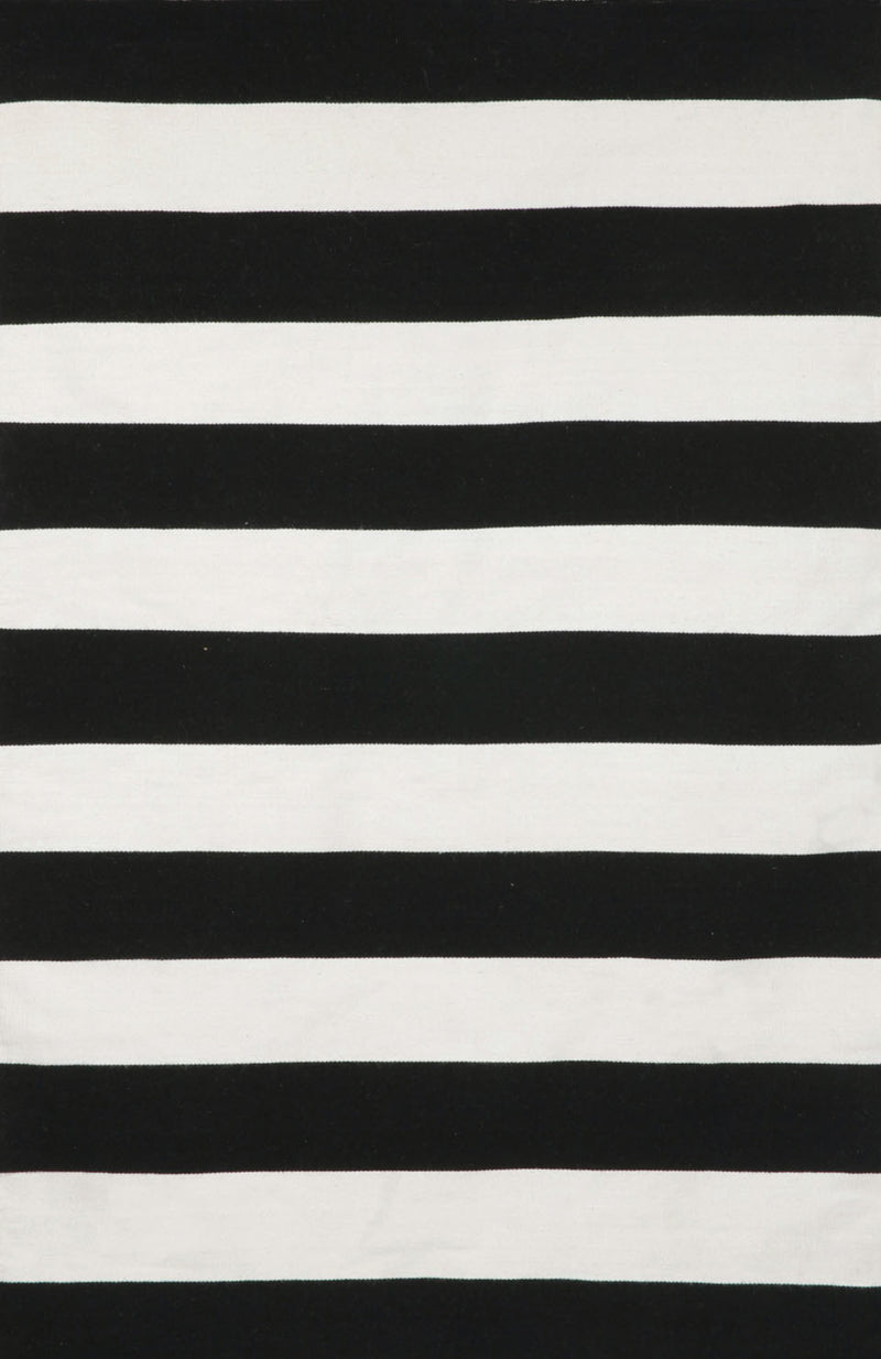 "Rugby Stripe Black 8'3"" x 11'6"" Indoor/Outdoor Flatweave Rug"