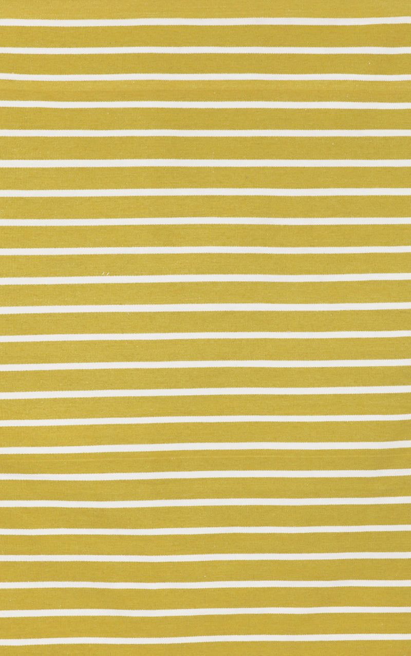 "Pinstripe Yellow 24"" x 8' Indoor/Outdoor Flatweave Rug"