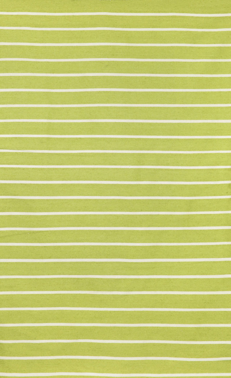"Pinstripe Lime 24"" x 36"" Indoor/Outdoor Flatweave Rug"