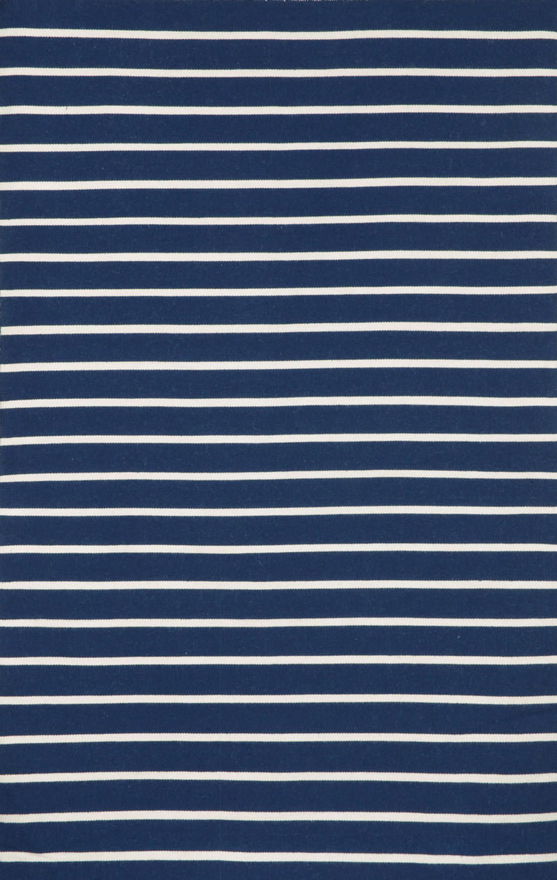 "Pinstripe Navy 7'6"" x 9'6"" Indoor/Outdoor Flatweave Rug"