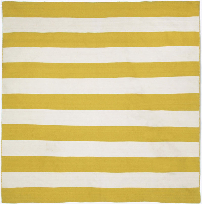 Rugby Stripe Yellow 8' SQ Indoor/Outdoor Flatweave Rug