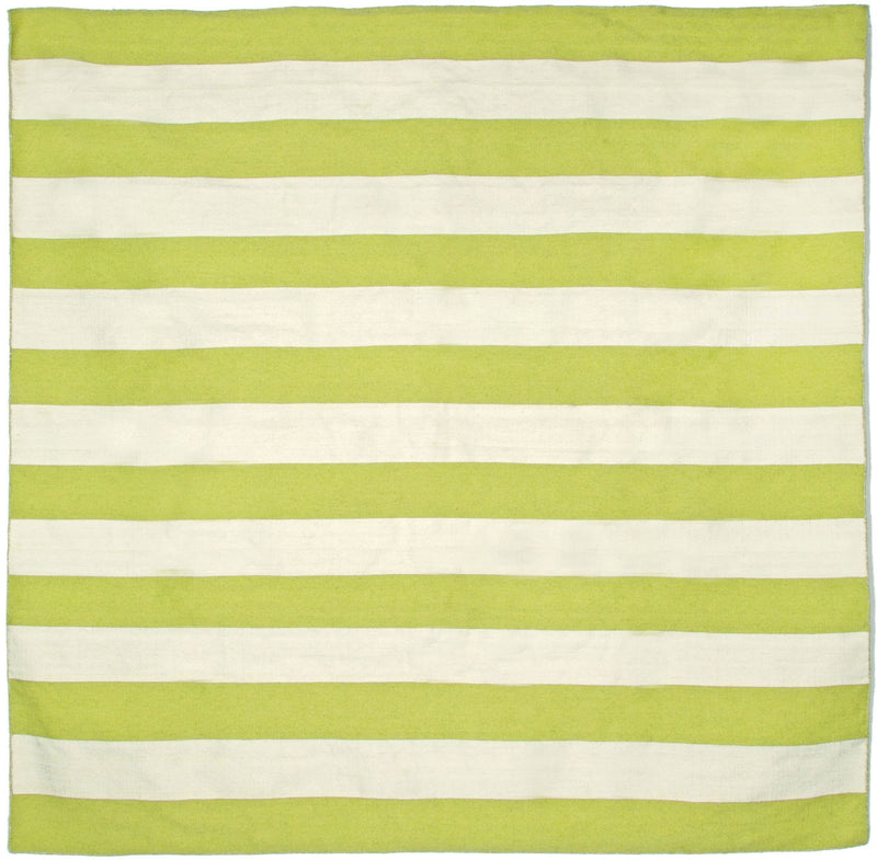 Rugby Stripe Lime 8' SQ Indoor/Outdoor Flatweave Rug