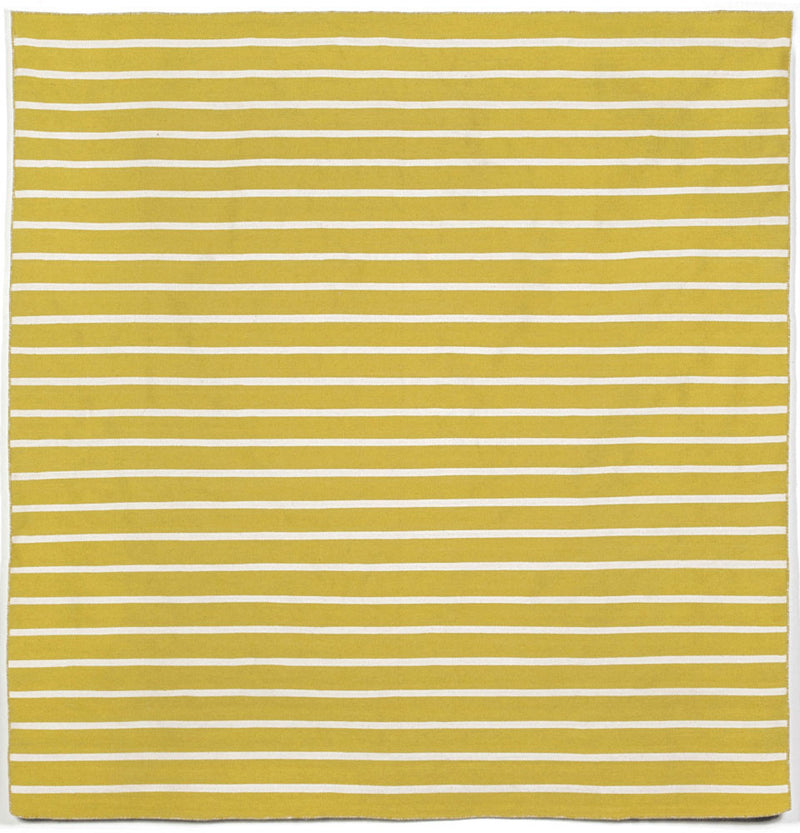 Pinstripe Yellow 8' SQ Indoor/Outdoor Flatweave Rug