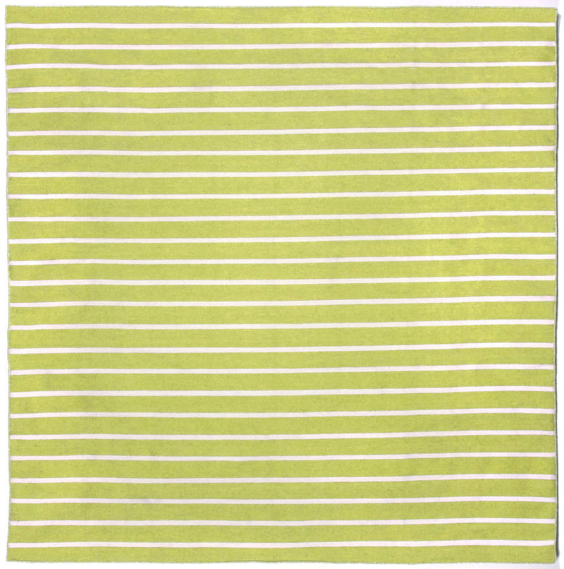 Pinstripe Lime 8' SQ Indoor/Outdoor Flatweave Rug