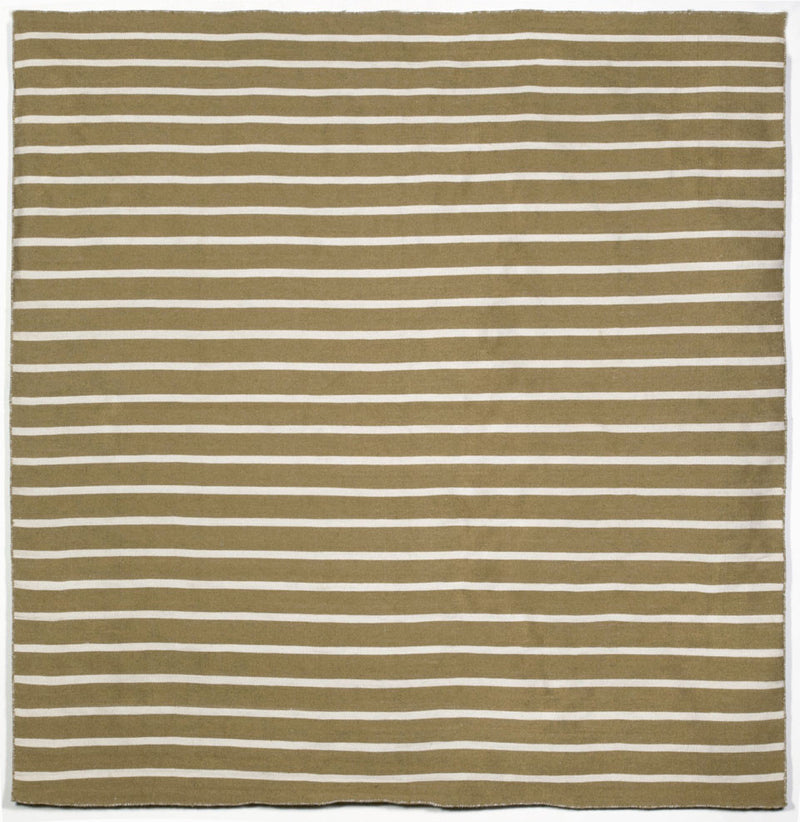 Pinstripe Khaki 8' SQ Indoor/Outdoor Flatweave Rug