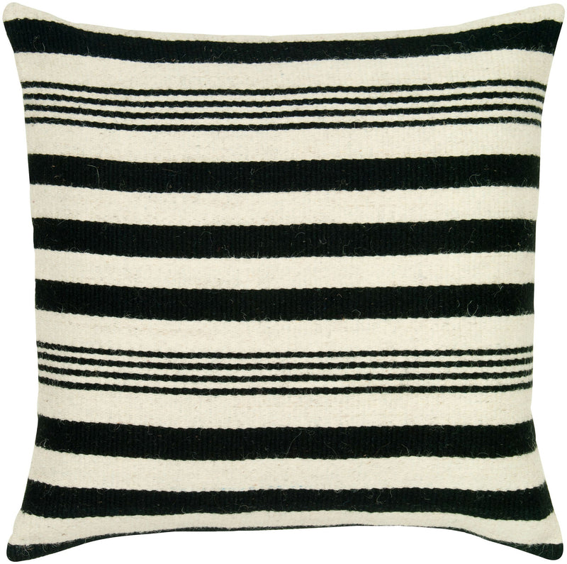 "Woven Wool of color Black Pillow Cover (24"" x 24"")"