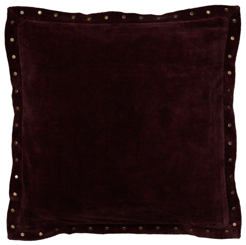 "Solid Velvet with Self Flange Plum Pillow Cover (18"" x 18"")"