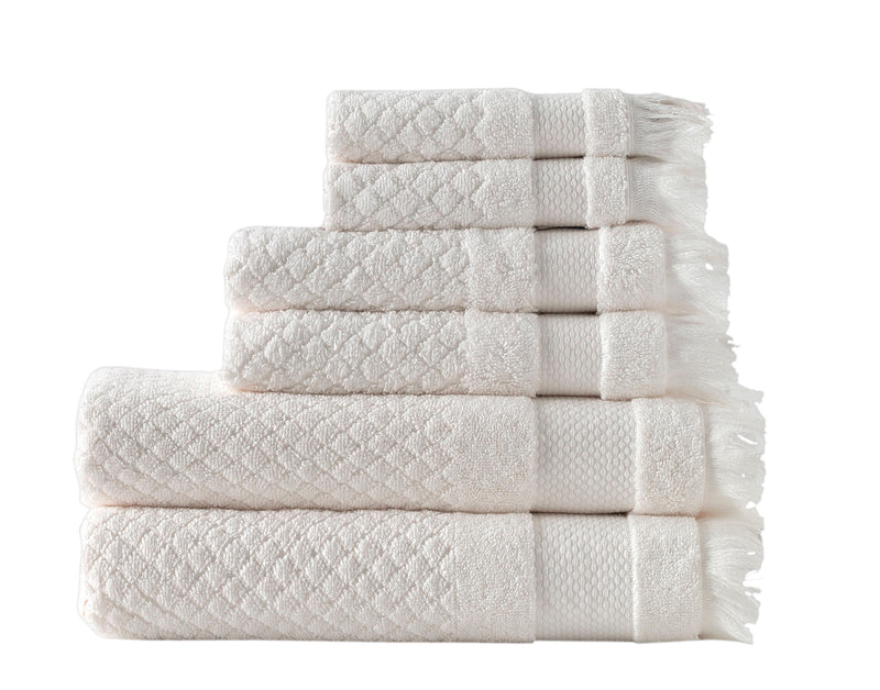 6-Piece Diamond Jacquard Turkish Bath Towel Set