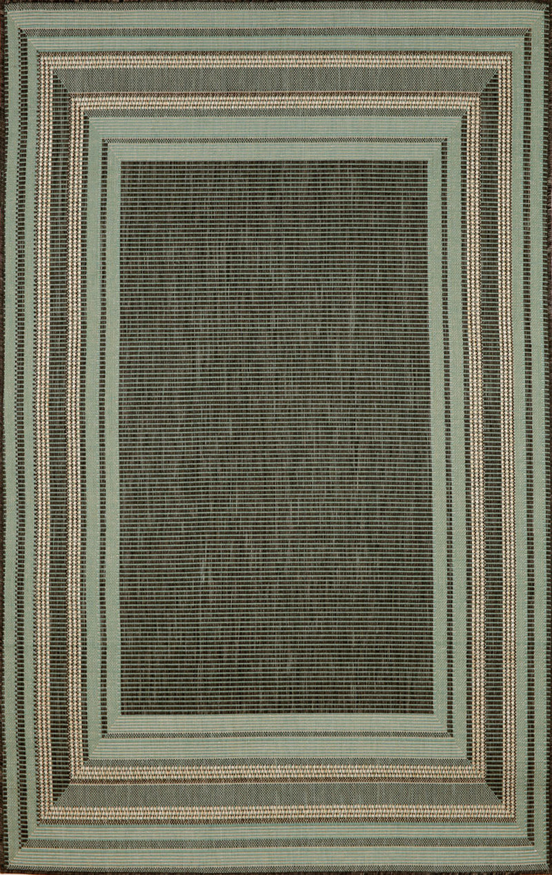 "Etched Border Aqua 7'10"" x 9'10"" Indoor/Outdoor Flatweave Rug"