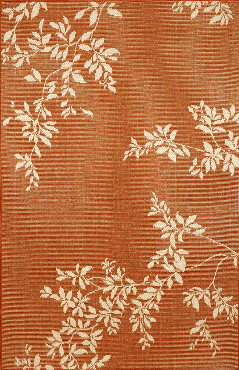 "Vine Terracotta 4'11"" x 7'6"" Indoor/Outdoor Flatweave Rug"