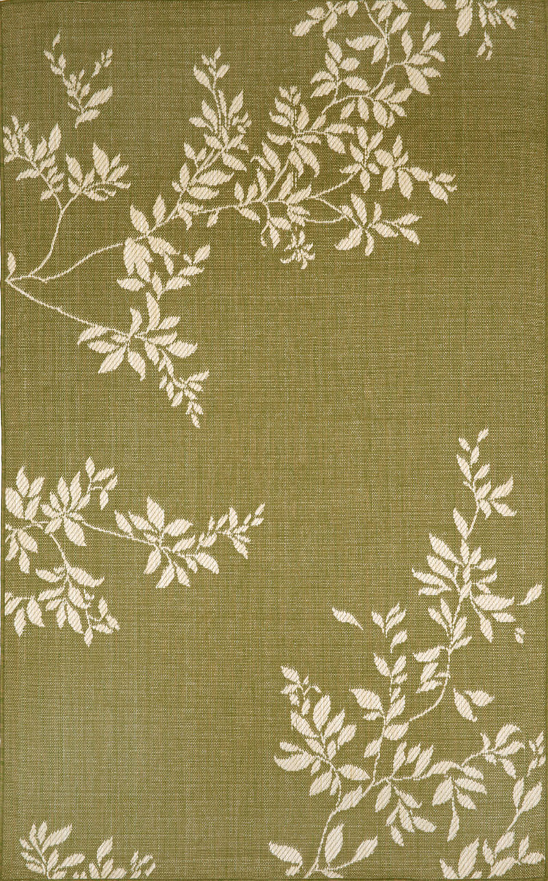"Vine Green 4'11"" x 7'6"" Indoor/Outdoor Flatweave Rug"