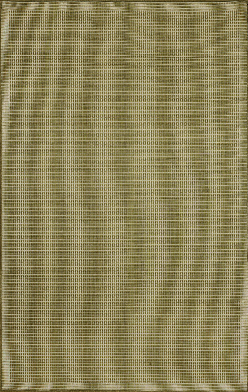 "Texture Green/Iv 4'11"" x 7'6"" Indoor/Outdoor Flatweave Rug"