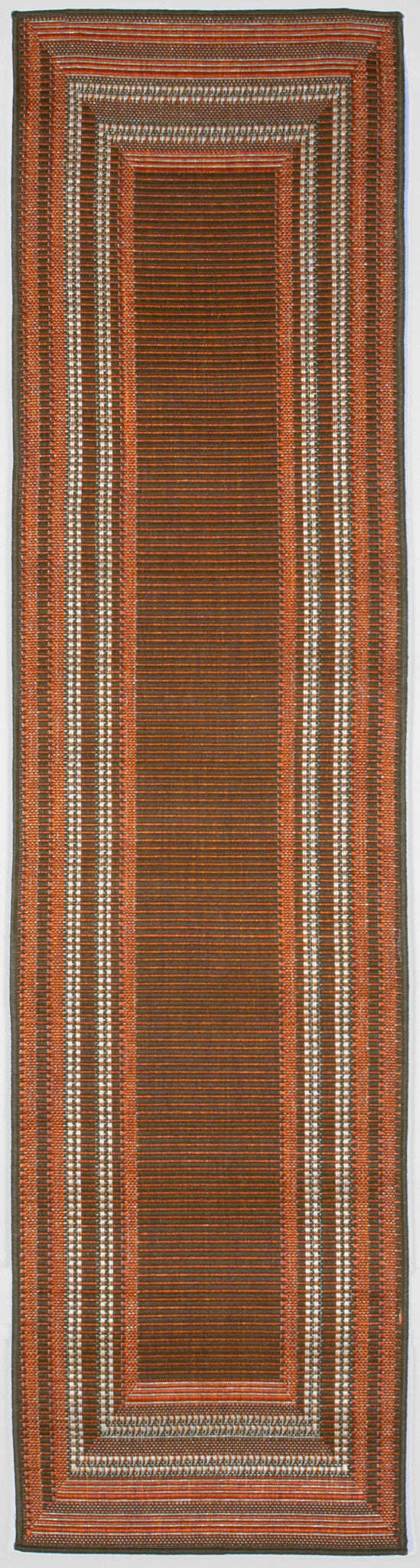 "Etched Border Terracot 23"" x 7'6"" Indoor/Outdoor Flatweave Rug"
