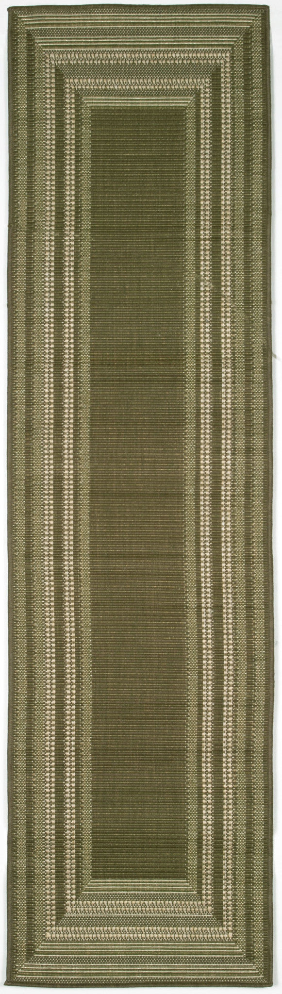"Etched Border Moss 23"" x 7'6"" Indoor/Outdoor Flatweave Rug"