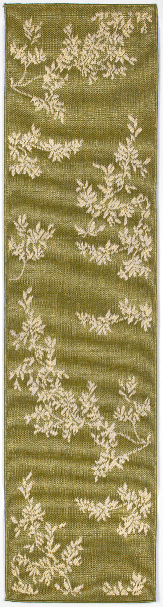 "Vine Green 23"" x 7'6"" Indoor/Outdoor Flatweave Rug"