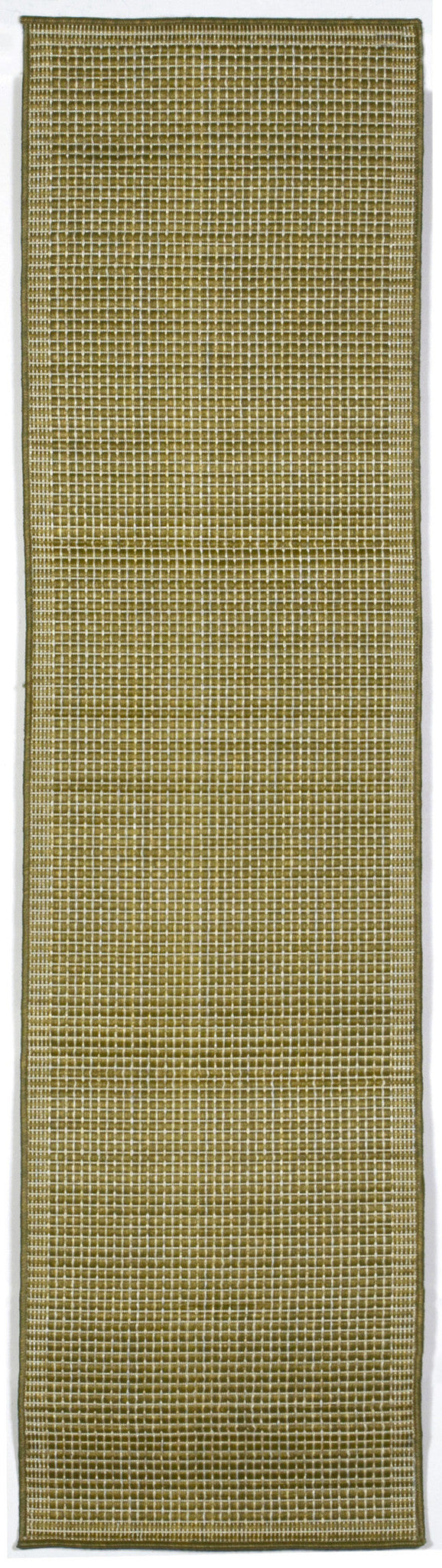 "Texture Green/Iv 23"" x 7'6"" Indoor/Outdoor Flatweave Rug"