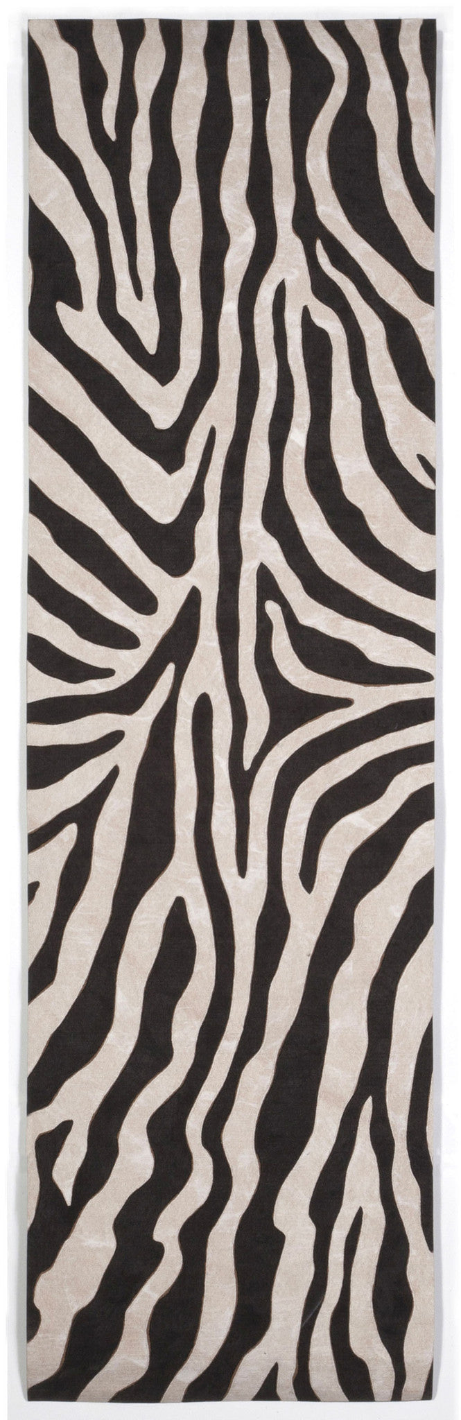 "Zebra Black 27"" x 8' Indoor/Outdoor Flatweave Rug"