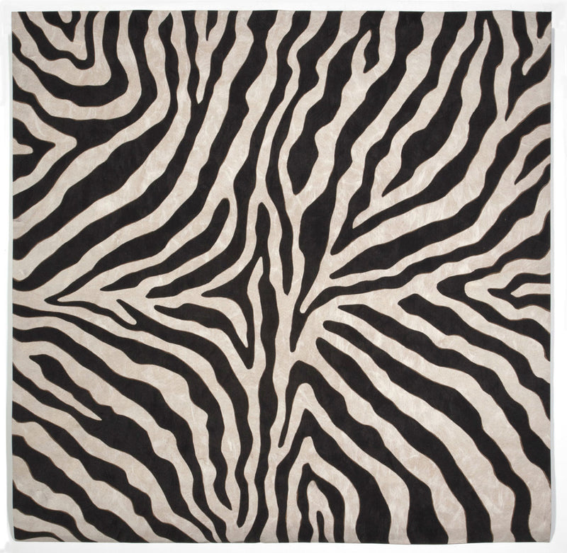 Zebra Black 8' SQ Indoor/Outdoor Flatweave Rug