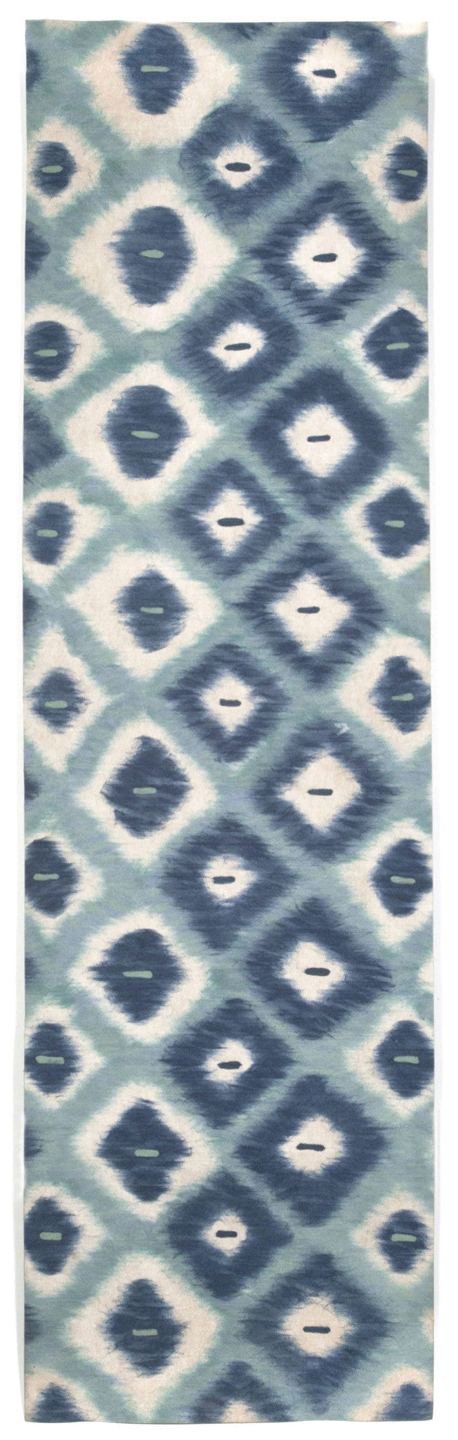 "Ikat Diamonds Aqua 27"" x 8' Indoor/Outdoor Flatweave Rug"
