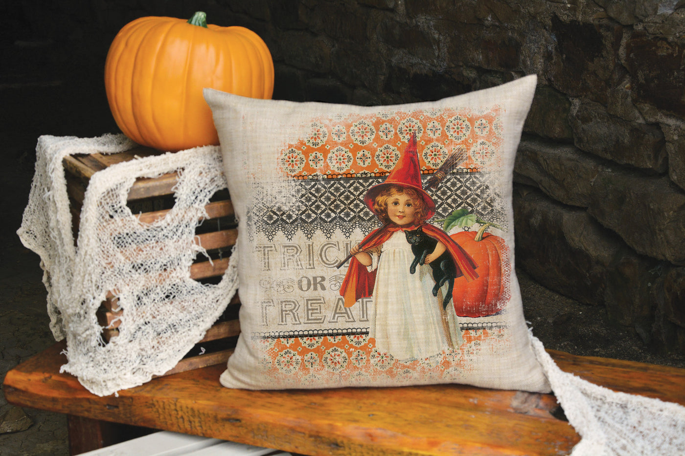 victorian halloween pillow 18""