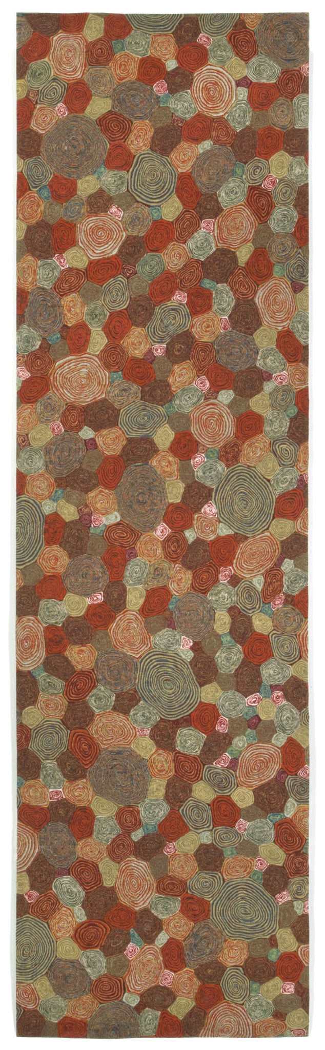 "Giant Swirls Fiesta 27"" x 8' Indoor/Outdoor Flatweave Rug"
