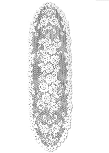 Victorian Rose 13X45 Runner, White