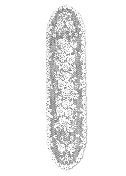 Victorian Rose 13X54 Runner, White