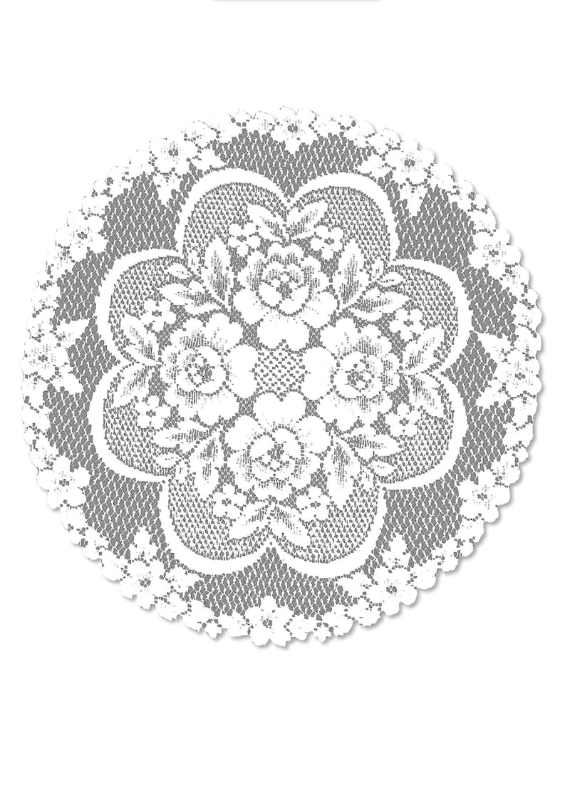 "Victorian Rose 19"" Doily, White"