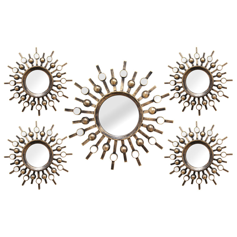 Rufino Distressed Gold Burst Wall Mirror (Set of 5)