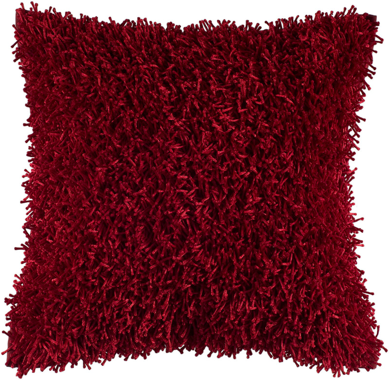 "Tufted Fibers Red Pillow Cover (18"" x 18"")"