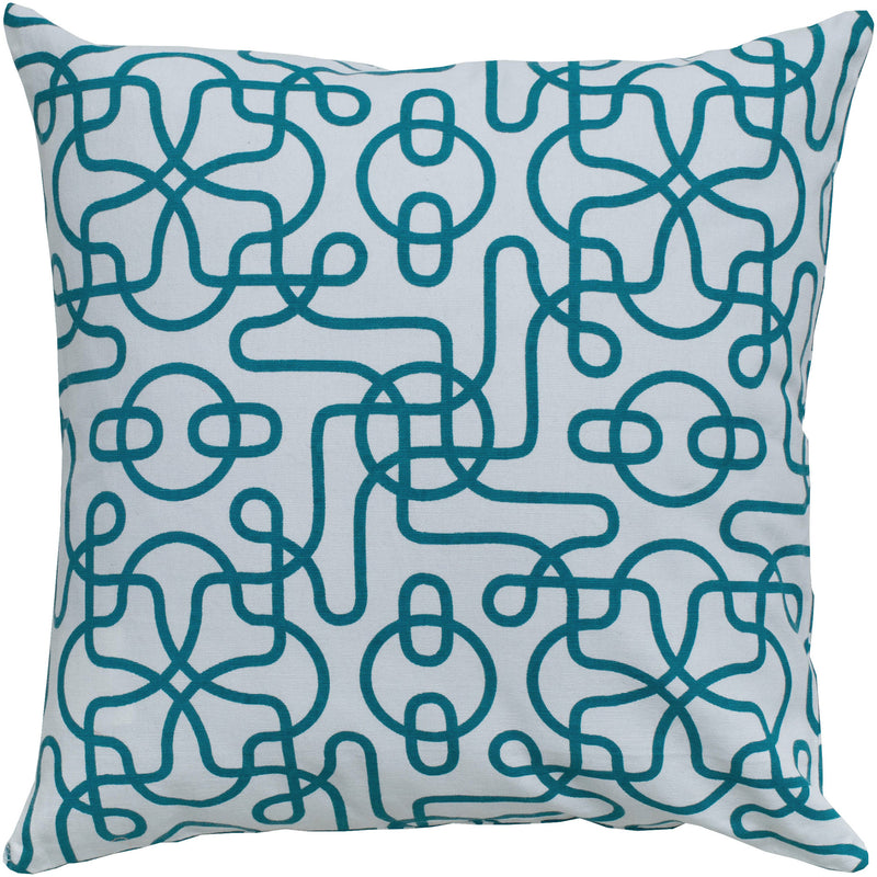 "Printed Reversible Pattern Teal Pillow Cover (18"" x 18"")"