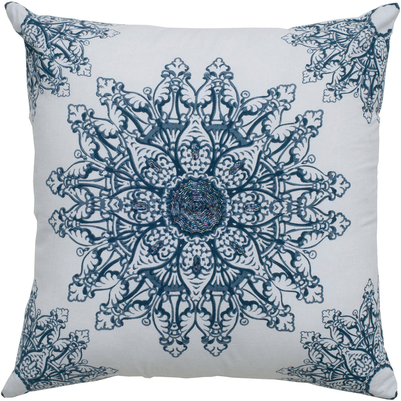 "Printed Applique and Sequin White Pillow Cover (18"" x 18"")"