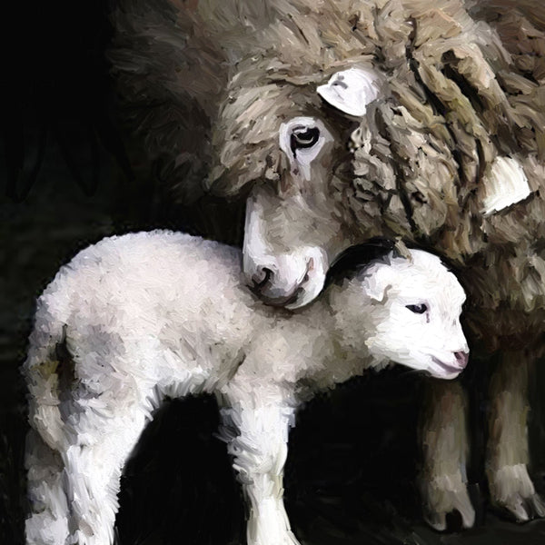 New born sheep print mounted on flexible magnet