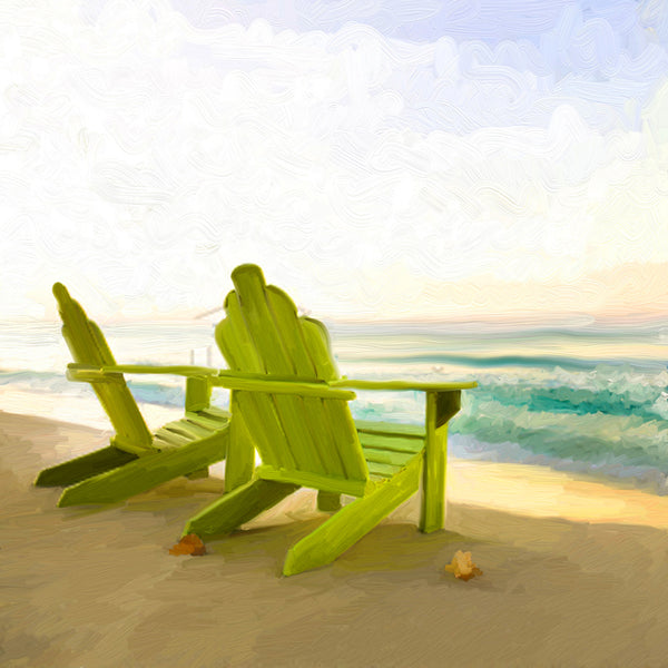 Green Adirondack chairs