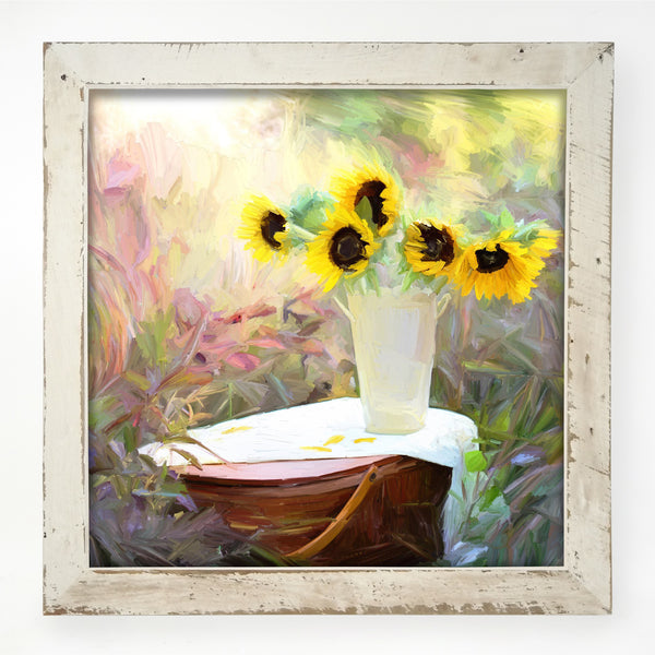 Sunflowers with Picnic Basket
