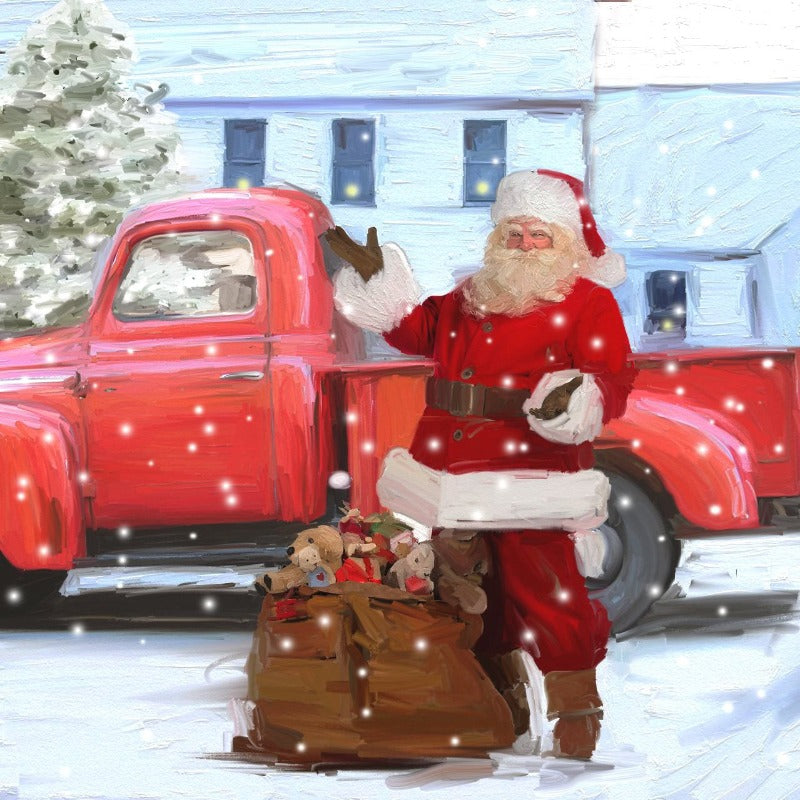 St Nick Loading up Old Red Pickup