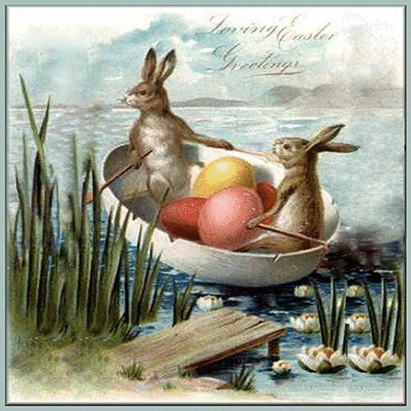 EH-404 bunnies in an egg boat