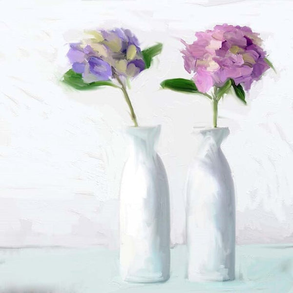 FL-214 Purple Hydrangeas in White Vases